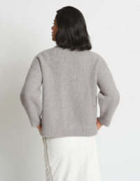 Alix Ribbed Pure Cashmere Cardigan in Granite 2