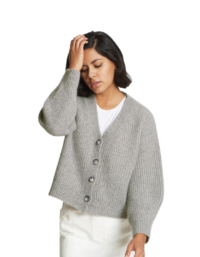 Alix Ribbed Pure Cashmere Cardigan in Granite