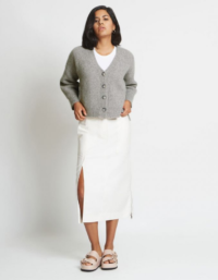 Alix Ribbed Pure Cashmere Cardigan in Granite 3