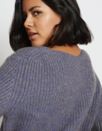 Kaya Ribbed Pure Cashmere Sweater in Cobalt Blue 2