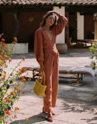 The Bianca Long-sleeved Jumpsuit In Tangerine 2