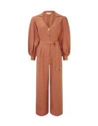 The Bianca Long-sleeved Jumpsuit In Tangerine