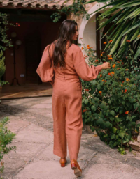 The Bianca Long-sleeved Jumpsuit In Tangerine 4