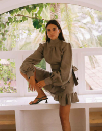 The Gabri Wrap Blouse in Taupe 2