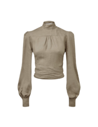 The Gabri Wrap Blouse in Taupe